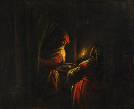 Figures in a Candlit Interior
