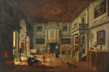 Perspective Interior with Figures