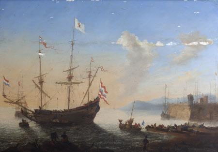 Dutch Ship in a Harbour