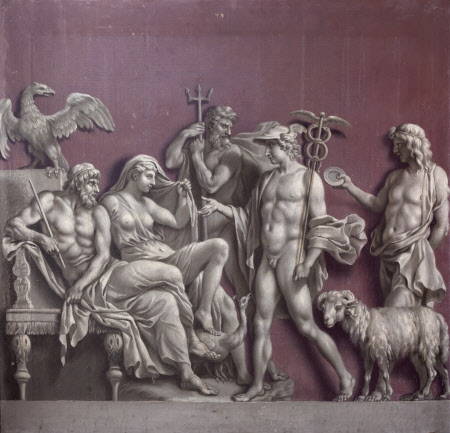 Mercury delivering a Message to Jupiter and Juno with Neptune in attendance (from an Antique Relief ...