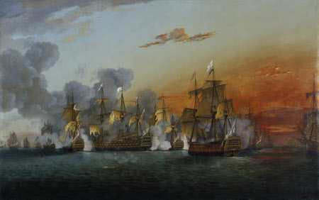 The Battle of the Saints, 12th April 1782, 6.30 p.m.: The 'Ville de Paris' striking her Colours