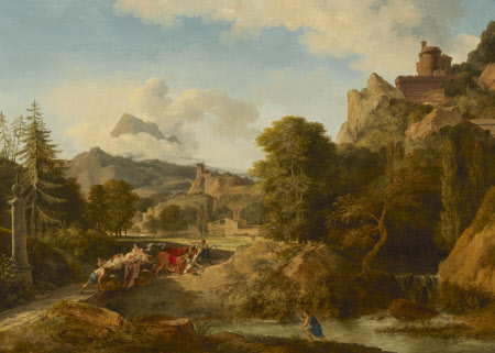 Mountainous Landscape with Oxen panicking whilst drawing a Cart