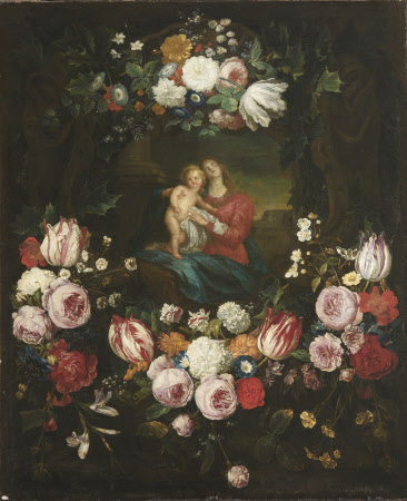 Madonna and Child set in a Garland of Flowers