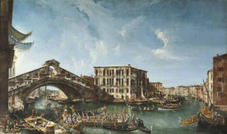 View of the Rialto Bridge and the Palazzo dei Camerlenghi with the festive entry of the Patriarch ...