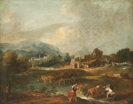Landscape with a Woman driving Cattle