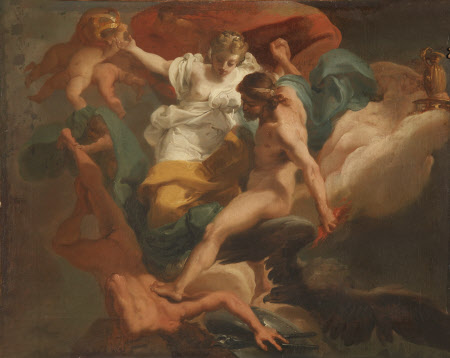 Zeus with Hera expelling Hephaestus (previously called Zeus with Cybele expelling Chronos)