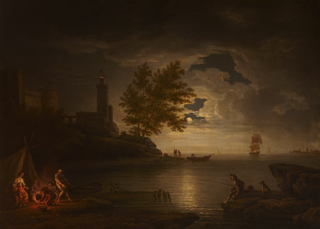 Seapiece by Moonlight with Fisherman