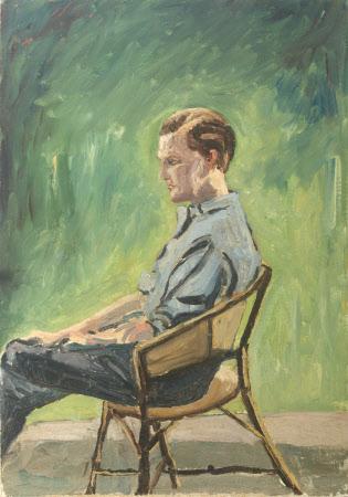 Randolph Churchill (1911-1968) seated in a Garden Chair
