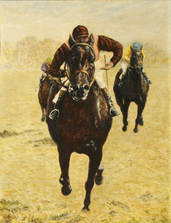 Winston Churchill's Horse 'High Hat' with Jockey Tommy Gosling (1926 - 2008) up