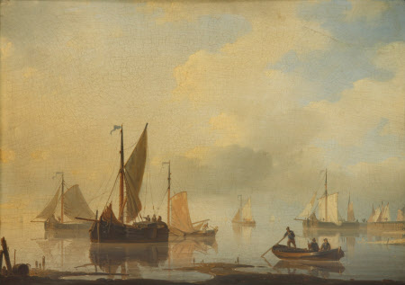 An Estuary Scene - Shipping in Calm Water