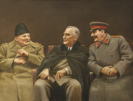 The Big Three - Winston Churchill, Franklin D. Roosevelt and Joseph Stalin at the Yalta Conference, ...