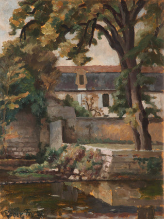 Landscape with Buildings and Tree by a Pool