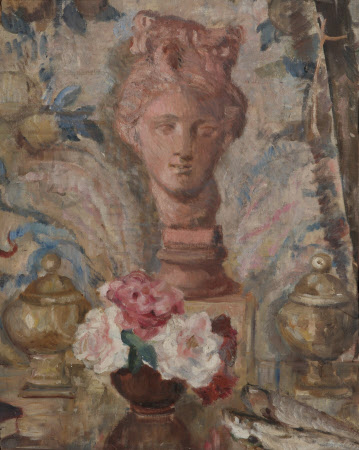 Still Life with Terracotta Head and a Vase of Flowers