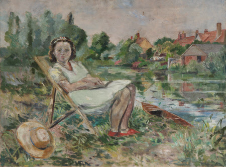 Girl in a Deckchair by a Riverbank