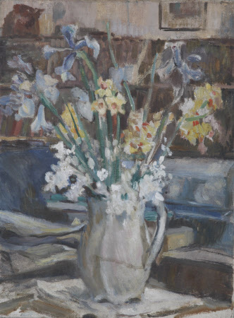 A Vase of Daffodils and Blue Irises