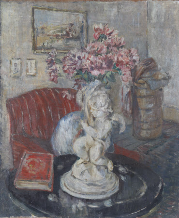 An Interior with a Statuette of a Cupid holding Pink Flowers