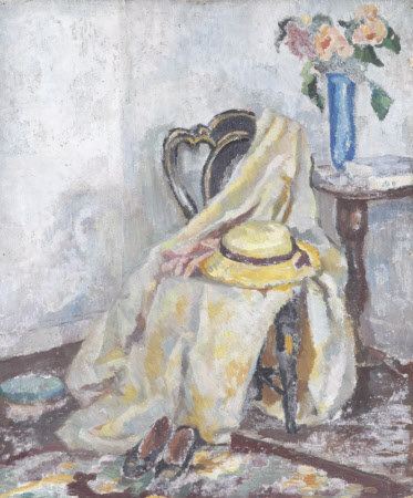 Still Life of a Yellow Hat and Cloak on Chair