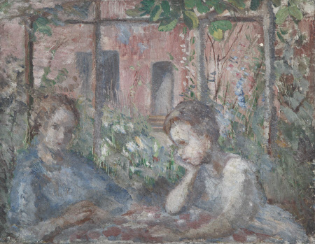 A Girl and a Boy at a Table under a Pergola