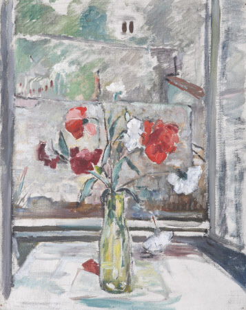 A Vase with Poppies on a Table by a Window