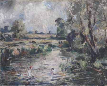 Country Landscape with Children playing in a River