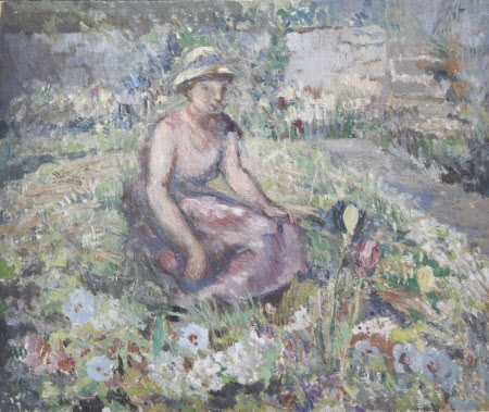 A Woman sitting amongst Flowers