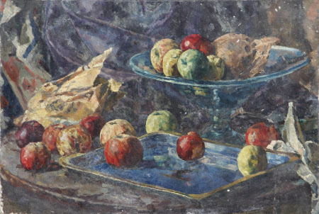 Still Life of Apples and a Bowl in a Tray