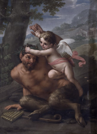Cupid attacking a Satyr (after Francesco Mancini)