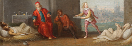 The Chirk Cabinet: the Seven Acts of Mercy: to visit the sick