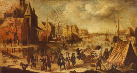 An Imaginary Winter Scene with People amusing themselves upon a Frozen River with Tents and a ...