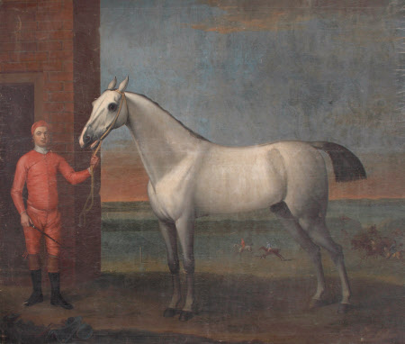 A Grey Horse and Jockey in Red Colours, before a Stable
