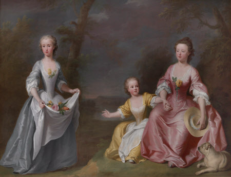 A Conversation Piece of Sarah Selman (b. 1733) and Helena Selman (b. 1735) with one of their ...