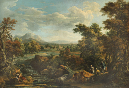 Wooded River Scene with Peasants
