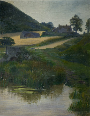 Landscape View of a Farm by a River