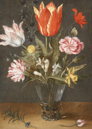Still Life with Tulips in a Glass Vase