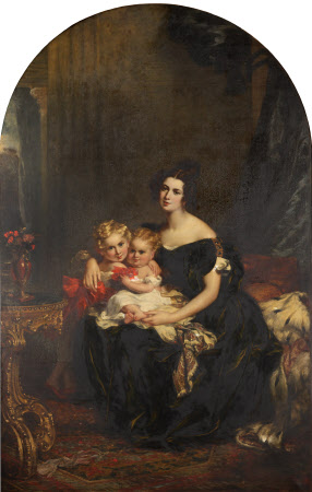 Elizabeth Acton, Lady Throckmorton (d.1850) with Two of her Children, Courtenay Throckmorton ...