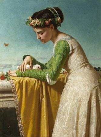 An Italian Girl with Doves