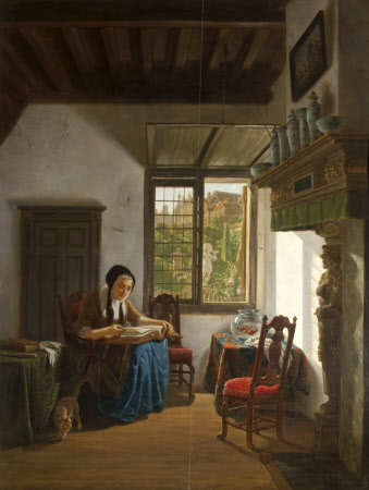 Cottage Interior with Woman reading, possibly, a Bible (Housekeeper's Room)