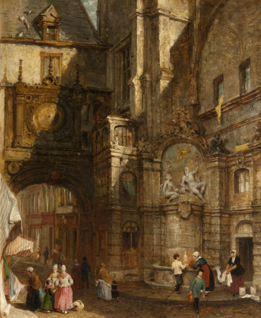 Street Scene in Rouen (Louis XV Fountain beside the Gros Horloge)