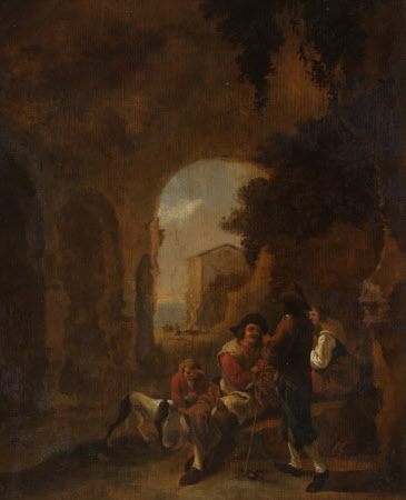 Roman Peasants conversing in a Grotto amongst Ruins