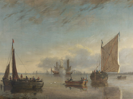 A Calm Estuary with Fishing Boats and Man o' War firing a Salute