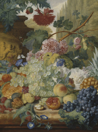 A Still Life of Flowers and Fruit upon a Ledge in a Park Setting