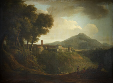 Italian Landscape with Castellated Town, Distant Mountains, and figures on road in foreground