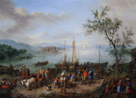 A River Landscape with Fishermen unloading their Catch