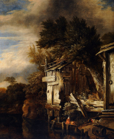 A Wooded River Landscape with Poultry by a Hut