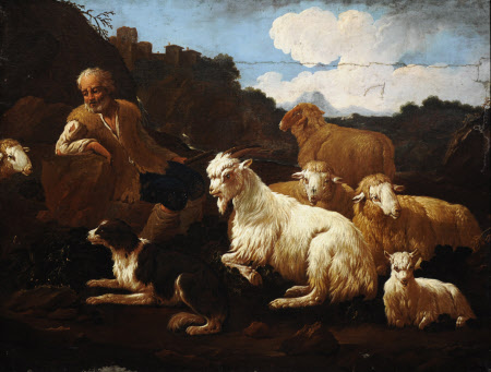 A Shepherd and his Flock in a Landscape