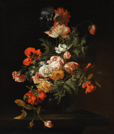 Still Life of Roses and other Flowers in a Glass Bowl on a Stone Ledge