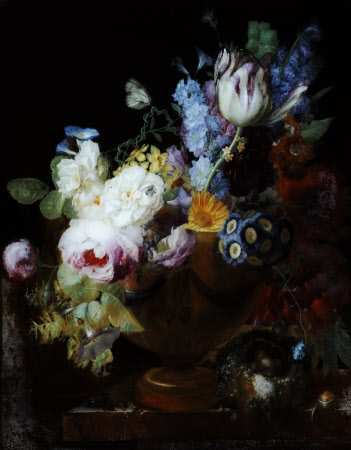 Still Life with Flowers in a Vase and a Bird's Nest