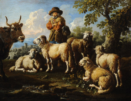 Herdsman with Sheep and Goats