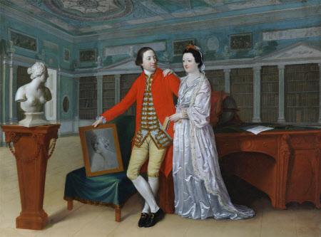 Sir Rowland Winn, 5th Bt (1739 - 1785) and his Wife Sabine Louise d'Hervart (1734 -1798) in the ...