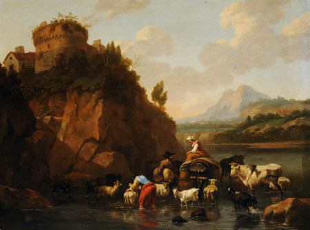 An Italianate Landscape with Herdsmen, Cattle and Goats